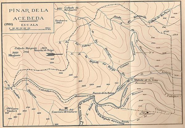 MAPA SITIO NATURAL DE INTERES NACIONAL PINAR-ACEBEDA-1931